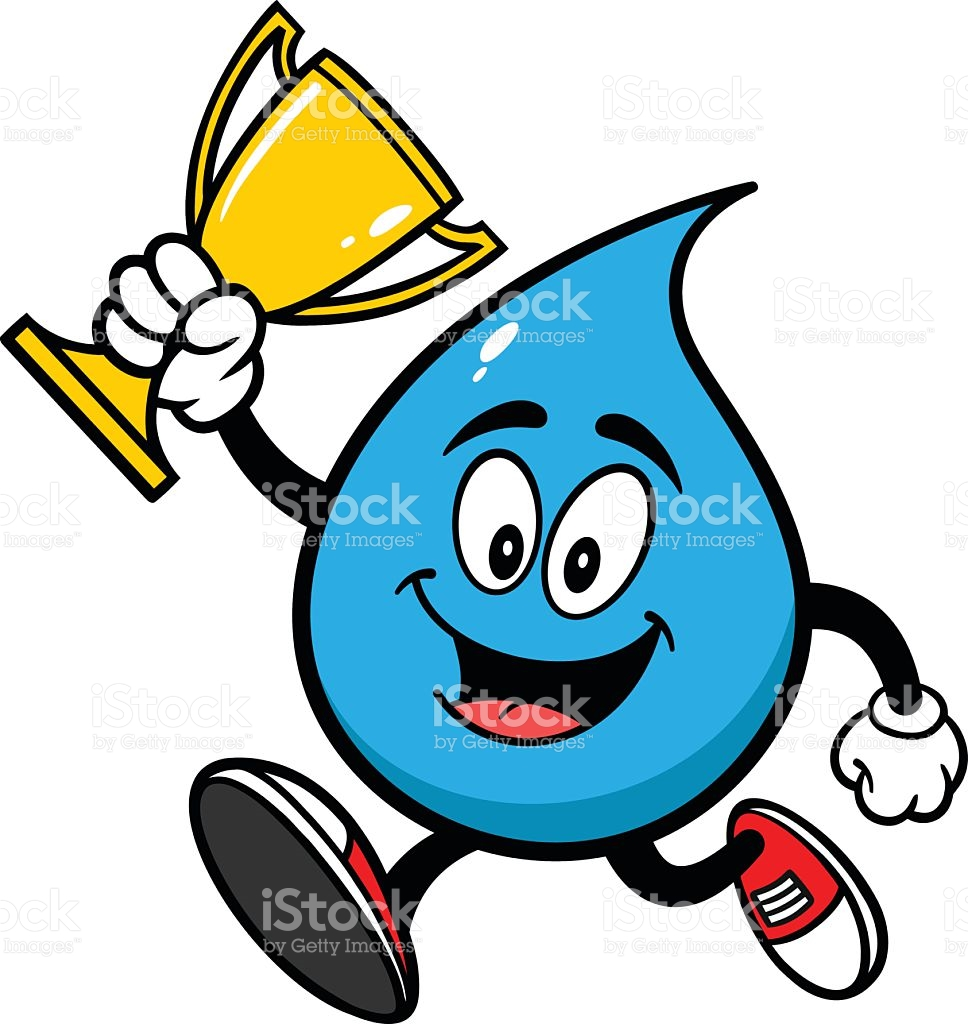 Water Drop Running With Trophy stock vector art 519890653.