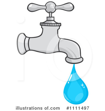 Clipart faucet with running water.