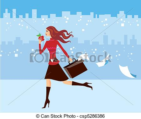 Clip Art Vector of Busy Woman.