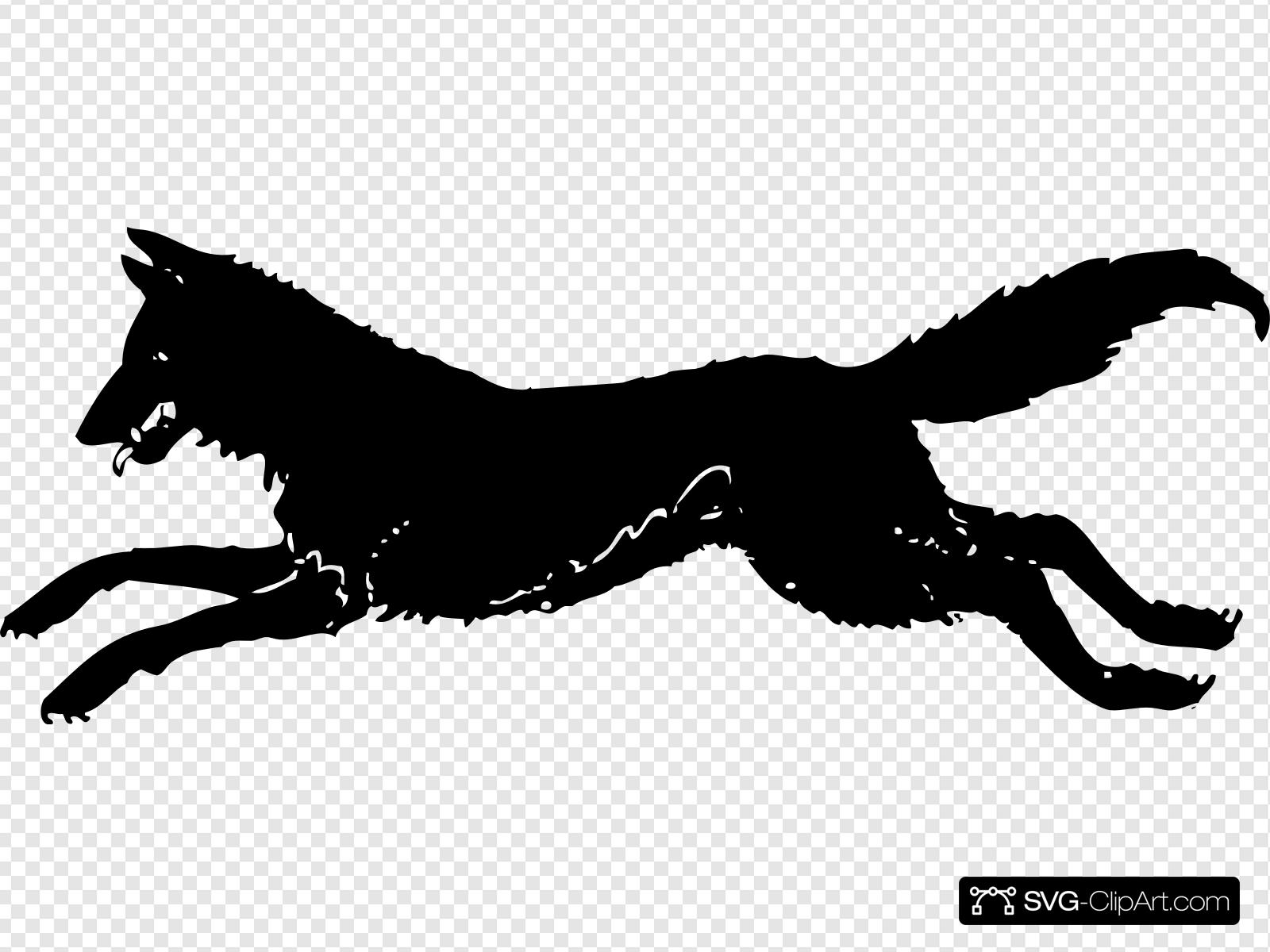 Running Wolf Silhouette Clip art, Icon and SVG.