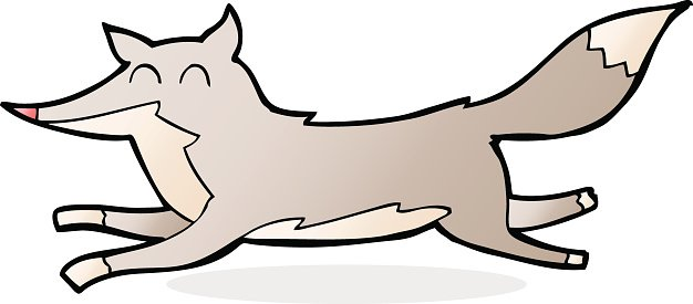 cartoon running wolf Clipart Image.
