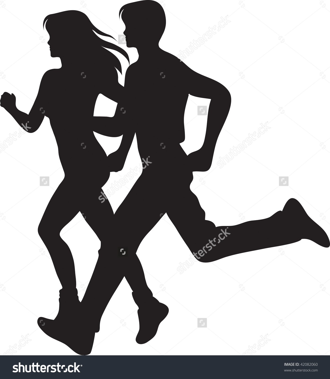 Clip Art Illustration Man Woman Running Stock Illustration.