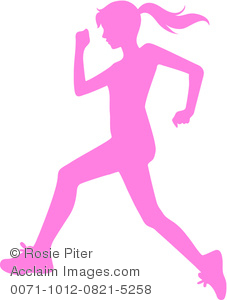 Clip Art Pink Silhouette of a Girl Running.