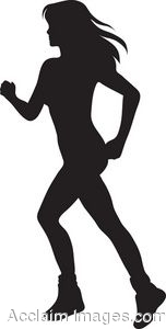 Clip Art of a Girl Running Silhouette.