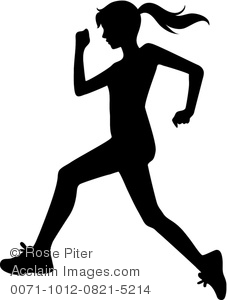 Clipart Image of A Silhouette of a Young Woman Jogging.