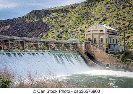 Stock Photography of Boise river diversion dam with high spring.