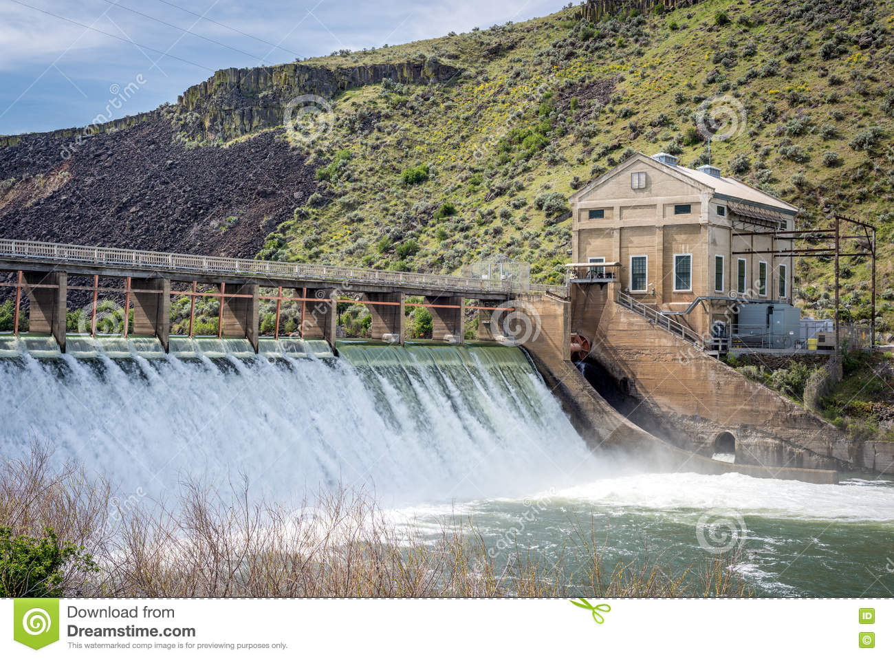 Boise River Diversion Dam With High Spring Runoff Stock Photo.
