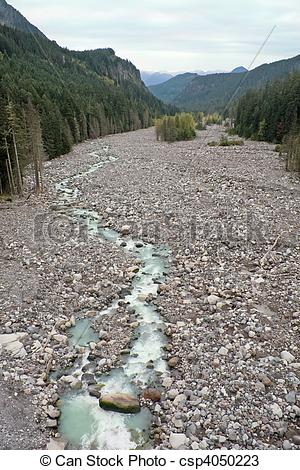 Stock Photos of Nisqually River, Glacial Runoff River in Mount.