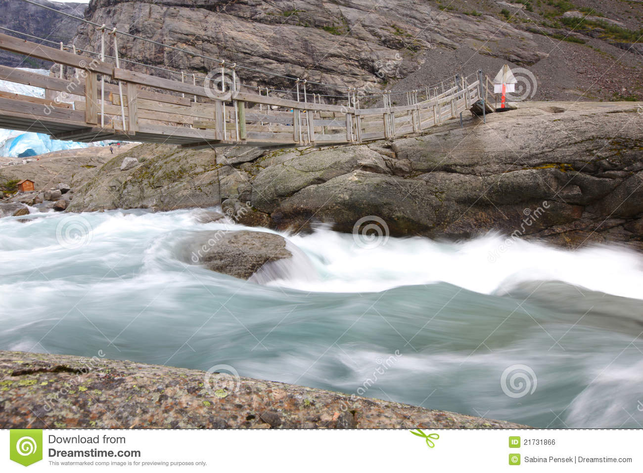 Bridge Over Rapid Runoff Water From Glacier Royalty Free Stock.