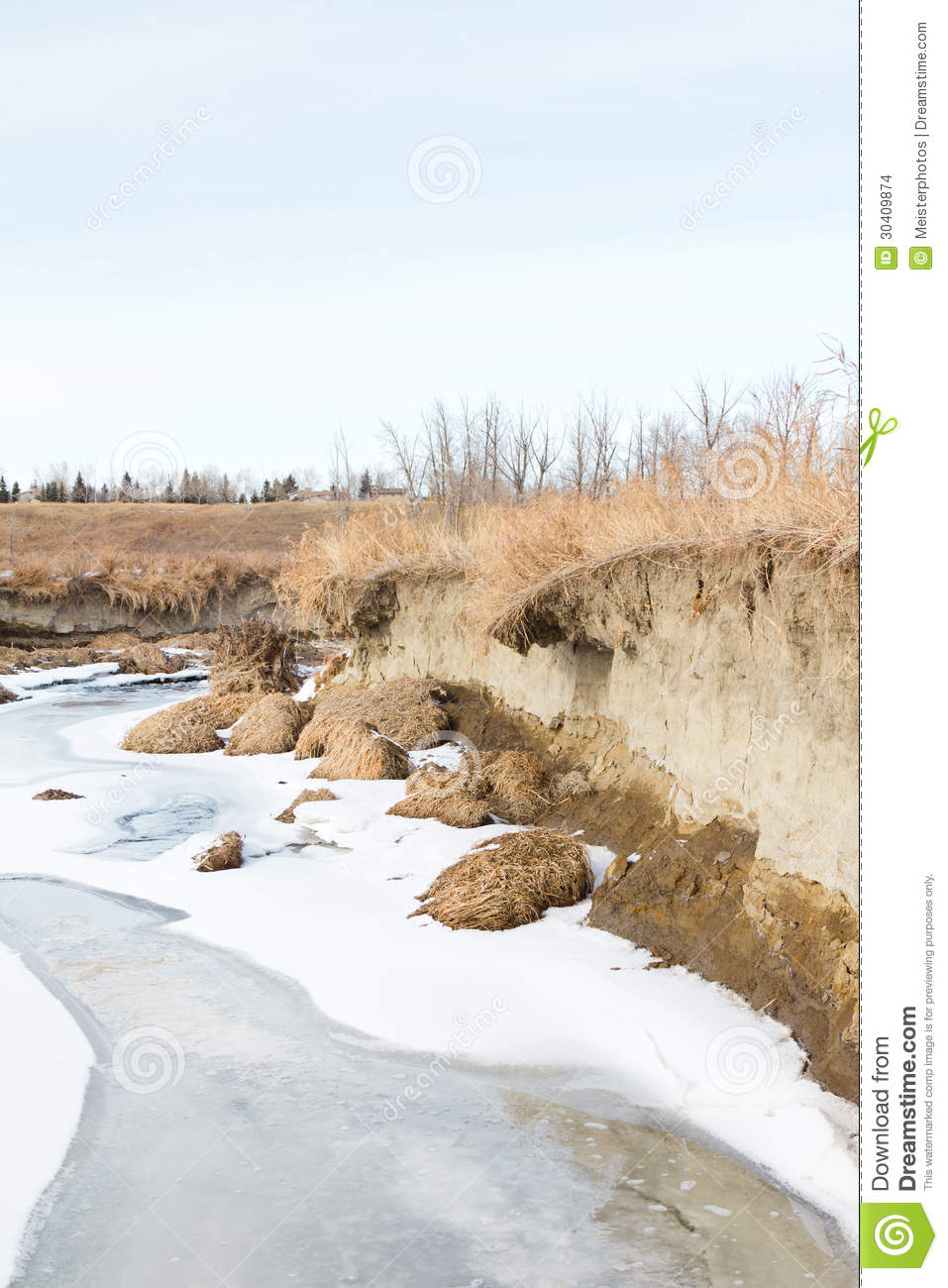Spring Run Off Erodes Stream Bank Stock Images.