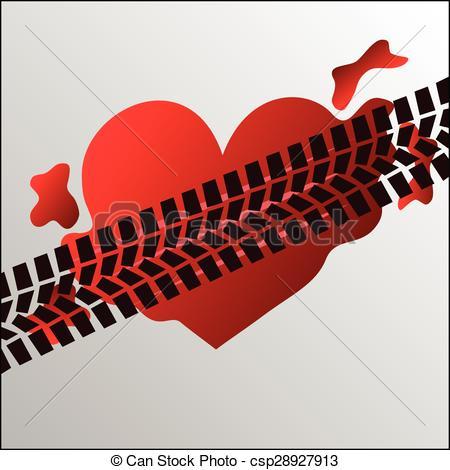 Vector Clip Art of Run over heart.