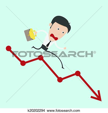 Clipart of Business man run over the negative graph k20202294.