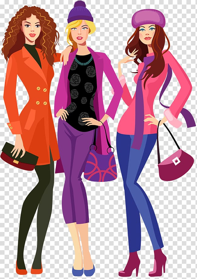 Three woman standing wearing assorted.