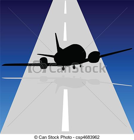 Vector Illustration of aircraft leave the runway illustration.