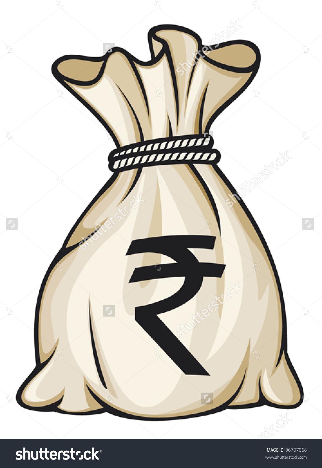 Rupees bag clipart.