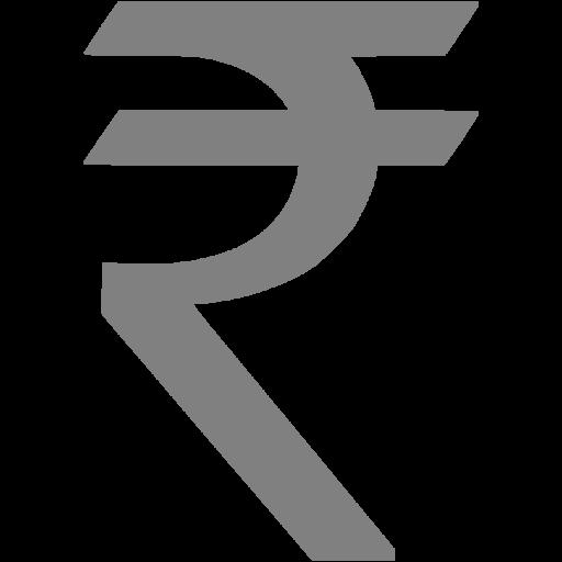 Gray indian rupee icon.