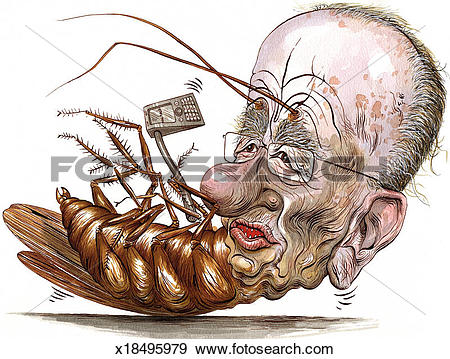 Stock Photograph of Rupert Murdoch turns into a Cockroach.