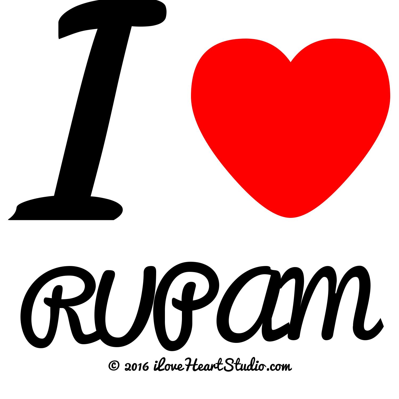 i [Love heart] rupam' design on t.