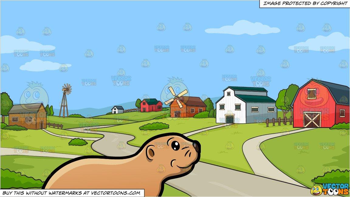 A Prairie Dog and A Rural Farming Community Background.