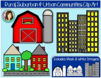 Rural, Suburban & Urban Community Buildings Clip Art.