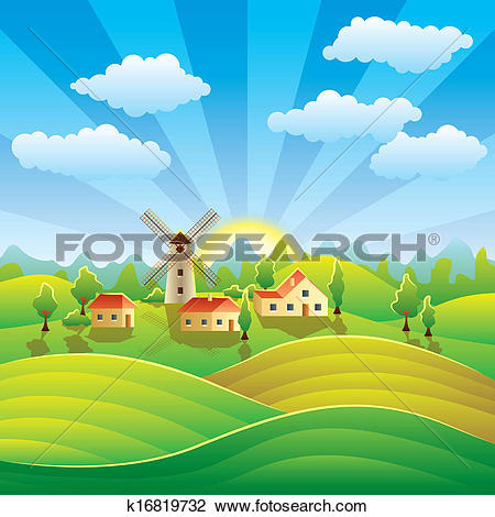 Clipart of Rural landscape with houses and summer fields k16819732.