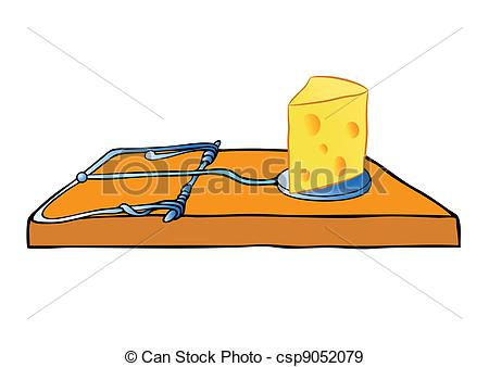 EPS Vectors of vector mousetrap with cheese.