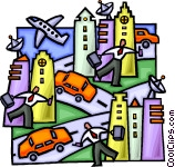 rush hour in the city Vector Clip art.