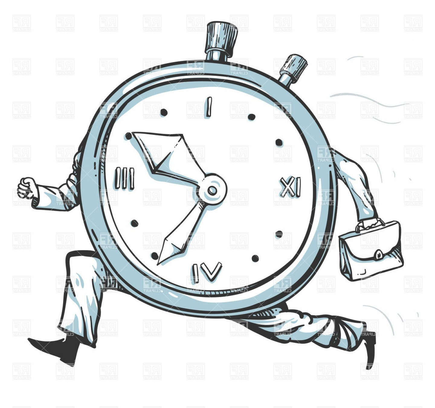 Top Rush Hour Clock Character Running Of Time Vector Clipart.