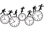 Vector Clip Art of Symbol people run a race in time on clocks.