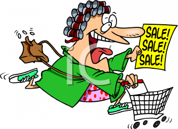 Excited Woman Rushing to a Sale Clip Art.