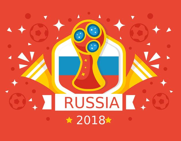 Free Red Background Russia World Cup 2018 Vector.