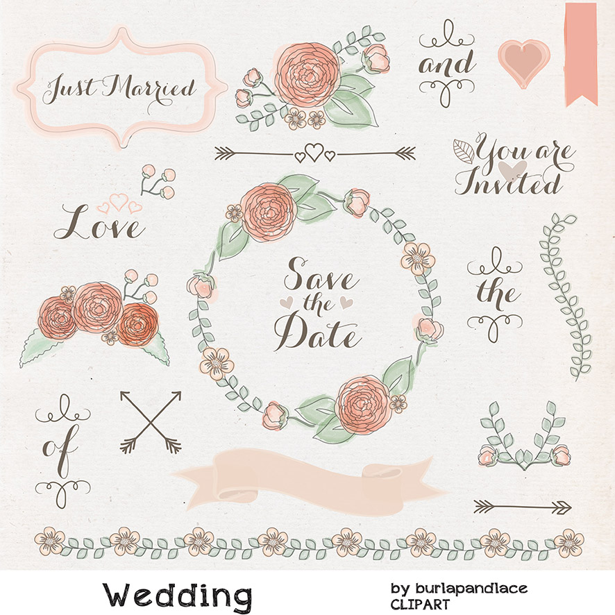 Rustic Wedding Borders Clipart.