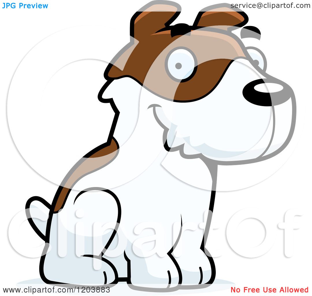 Cartoon of a Cute Jack Russell Terrier Puppy Sitting.