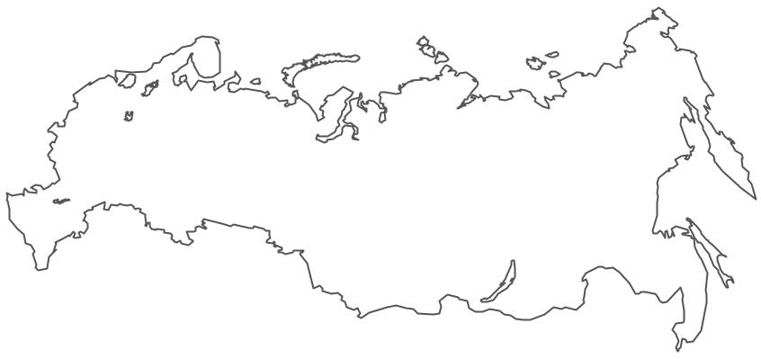 Карта контур россии вектор