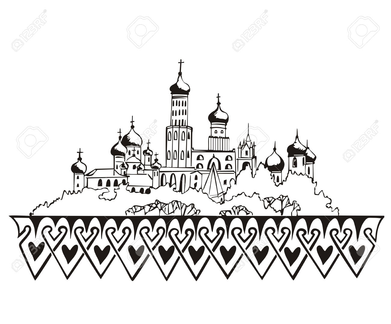 Stylized Moscow Kremlin Sketch (Russia). Black And White Royalty.