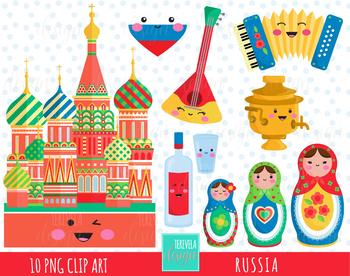 50% SALE RUSSIA clipart, KAWAII RUSSIA, matryoshka, moscow, cute graphics.