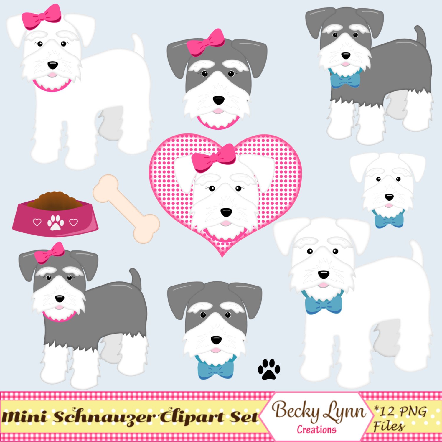 Miniature Schnauzer Dog Clip Art Set Dog Digital Art Dog.