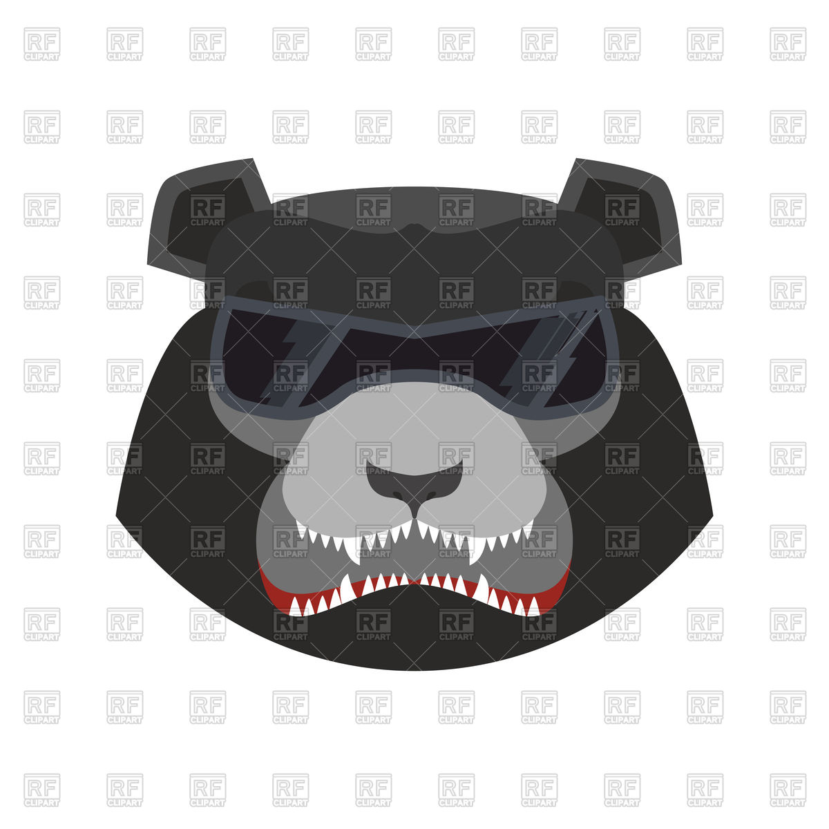 Angry bear head in black glasses, aggressive grizzly Vector Image.