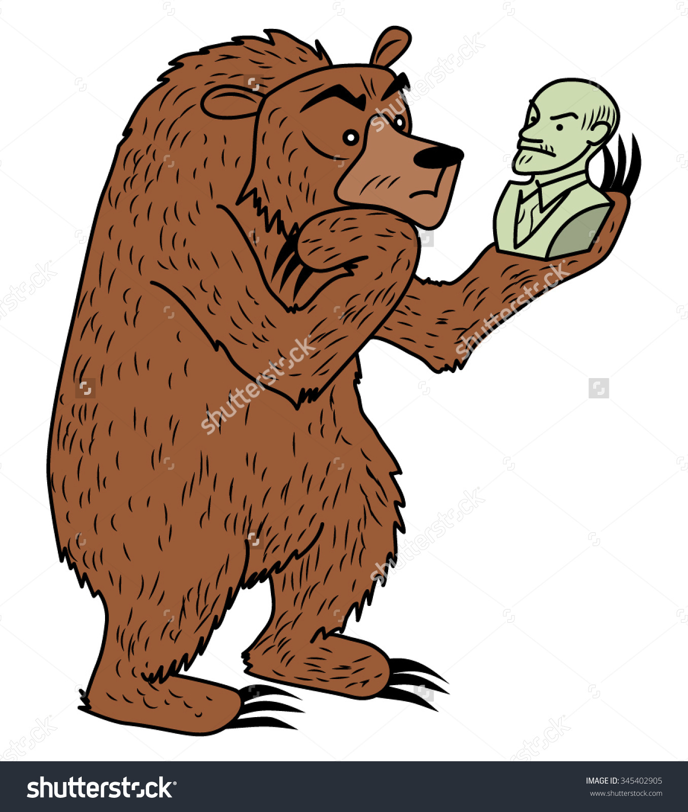 Russian Bear Bust Lenin Playing Hamlet Stock Vector 345402905.