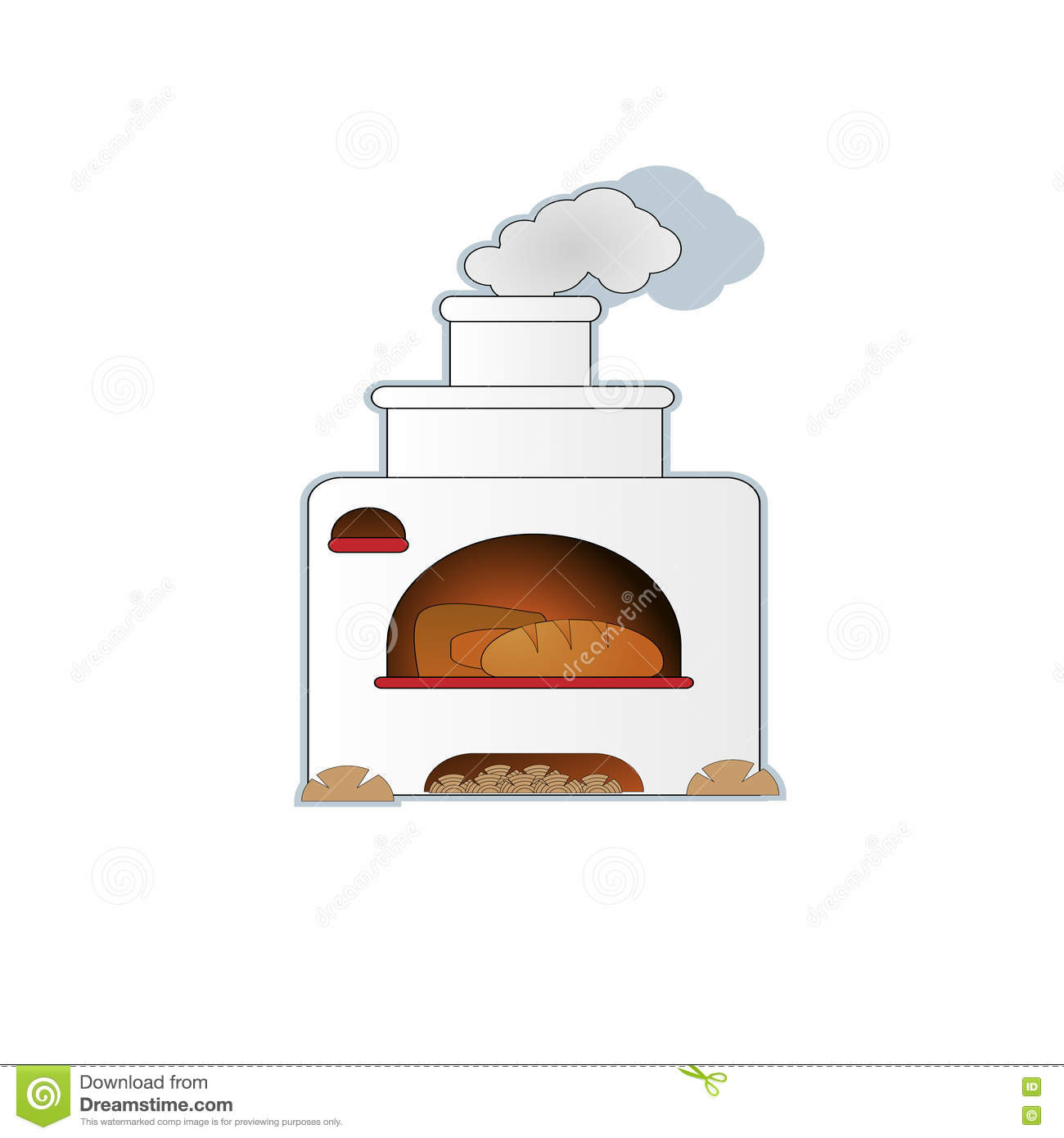 Cartoon Hand Drawn Russian Oven With Bread Stock Vector.