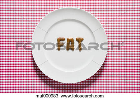 Stock Photo of Word fat written with russian bread on dish, close.