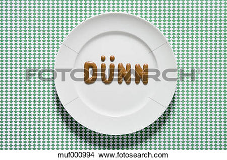 Stock Photo of Word thin written with russian bread on dish, close.