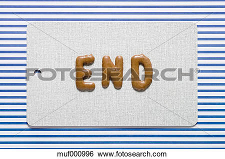 Stock Images of Word end written with russian bread on dish, close.