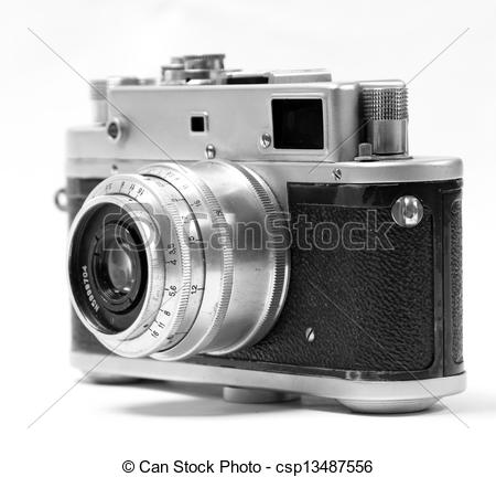 Stock Images of old analog russian photo camera. Front view.