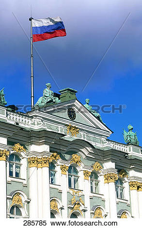 Stock Image of Russian flag on top of museum, Ermitage Museum, St.