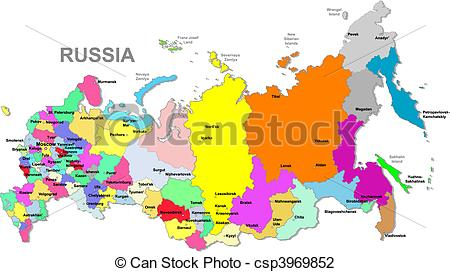 Vector Illustration of Russian federation map.