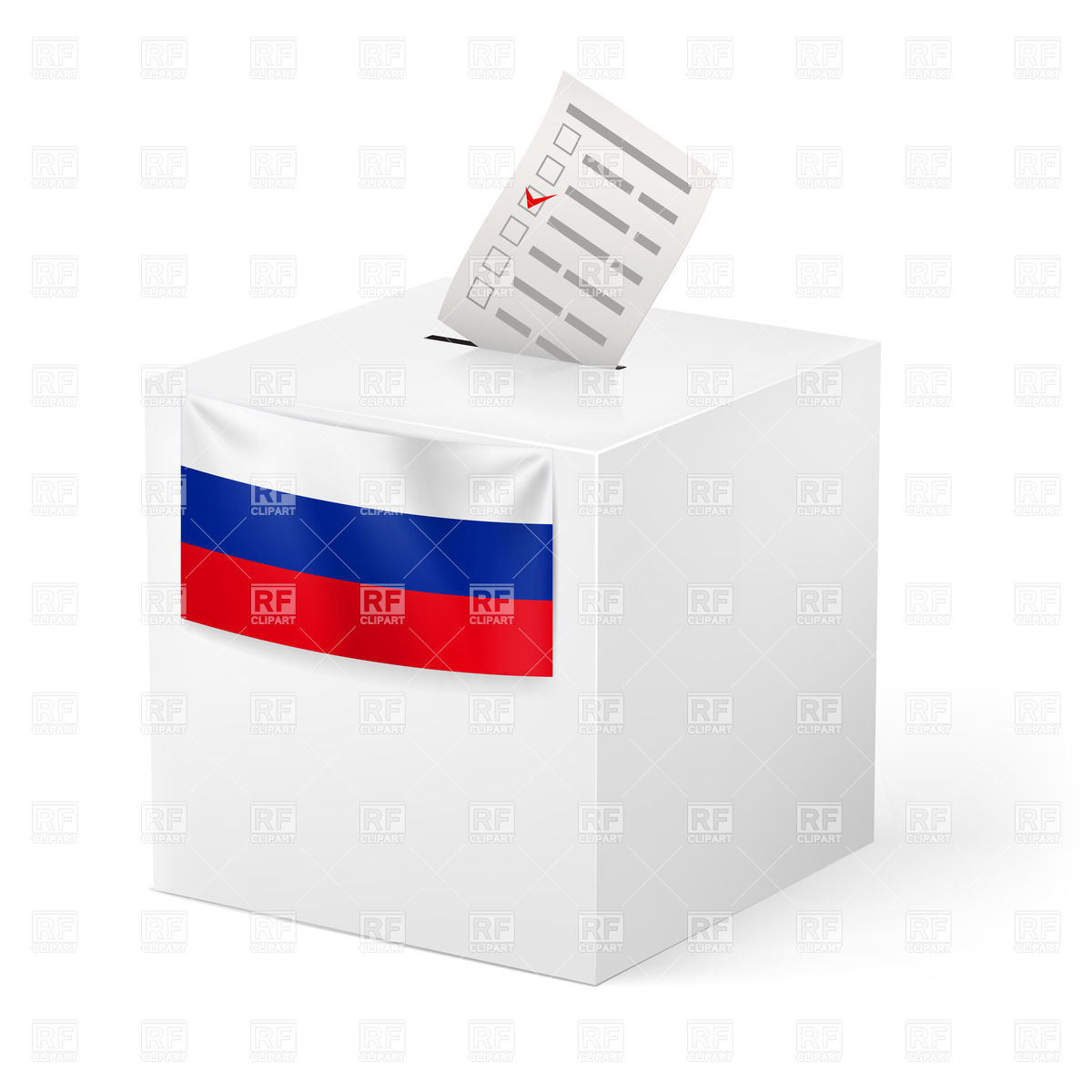 Election in Russian Federation: ballot box with voting paper.
