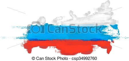 Clip Art Vector of Grunge map of Russian Federation with Russian.