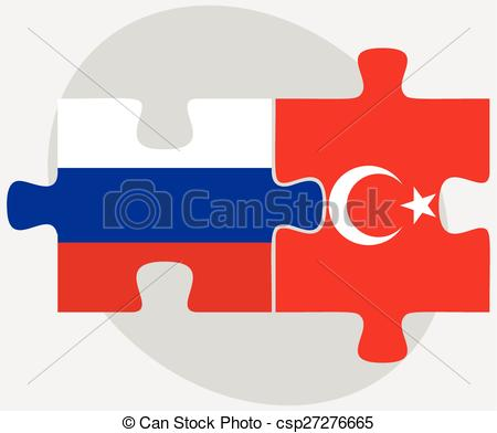 Clip Art Vector of Russian Federation and Turkey Flags in puzzle.