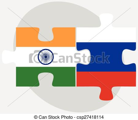 Vector Clip Art of India and Russian Federation in puzzle.